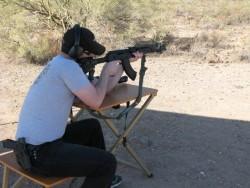 Me shooting the Saiga AK47 with iron sights